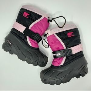 Sorel pink and black snow boots size 10